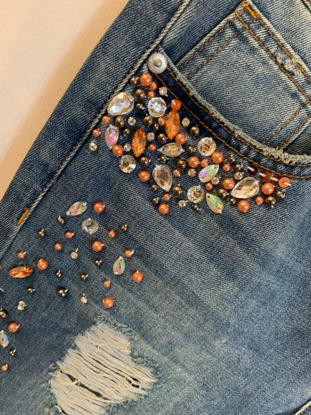Bejeweled cropped jeans