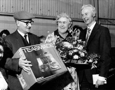 1980 - Hilda Hadley receives a Goblin Teasmade for her retirement present, a popular gift at the time.