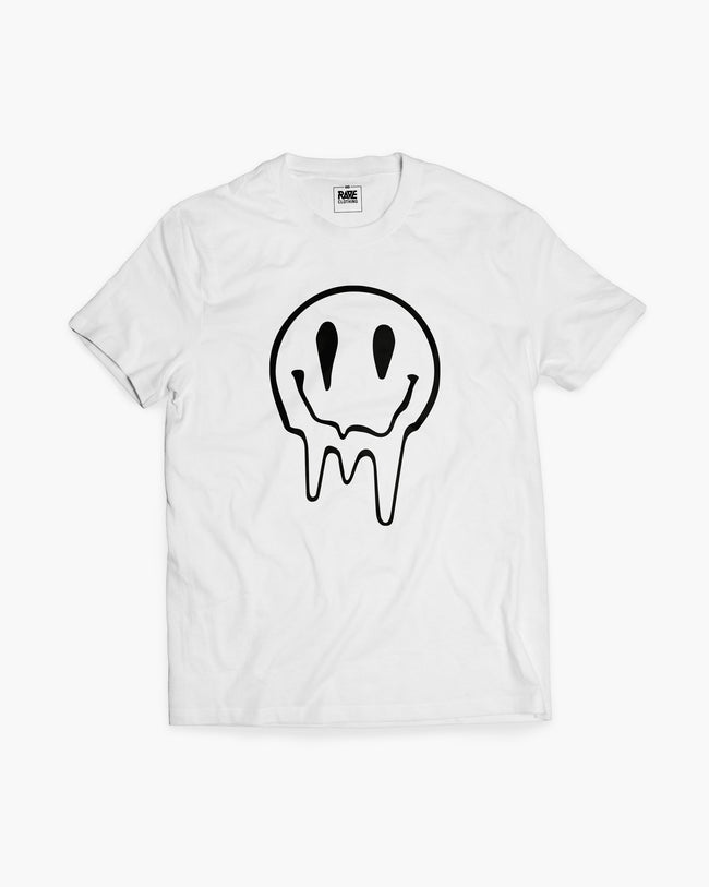 Acid Smiley T-shirt in white for men by RAVE Clothing
