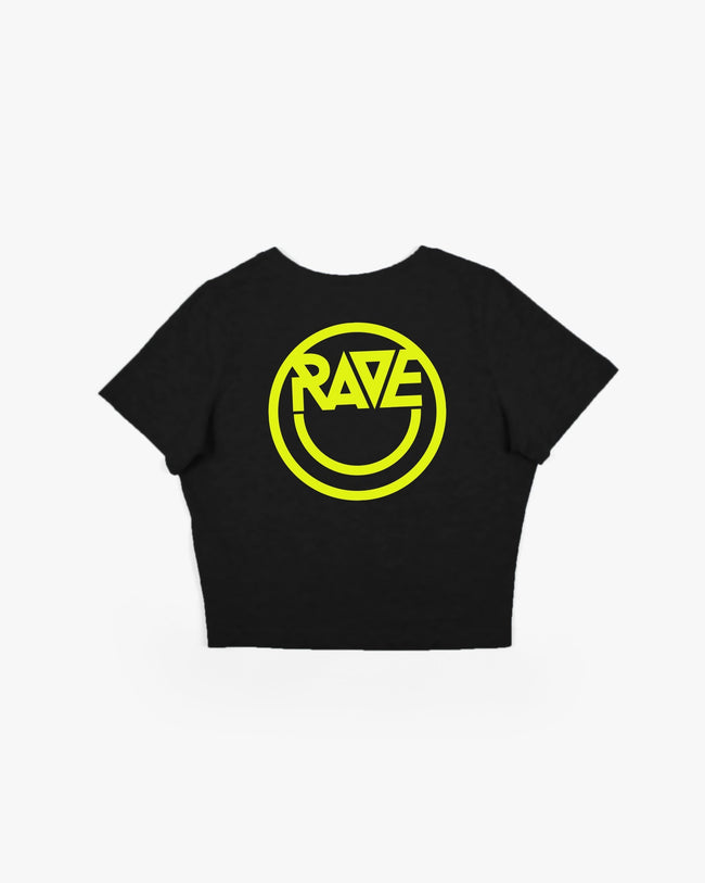 Black Acid RAVE Crop Top for women