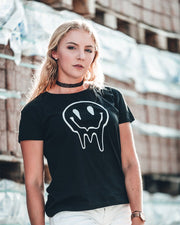 Acid Smiley Ladies T-Shirt in schwarz