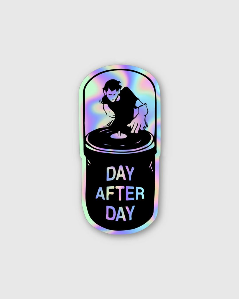 Day After Day Holographic Sticker by RAVE Clothing