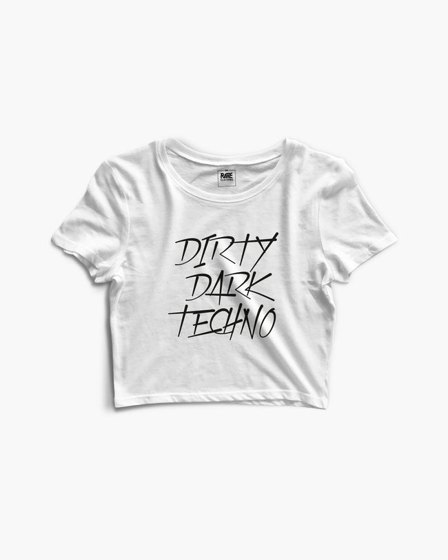 Dirty Dark Techno Crop Top in white for women by RAVE Clothing