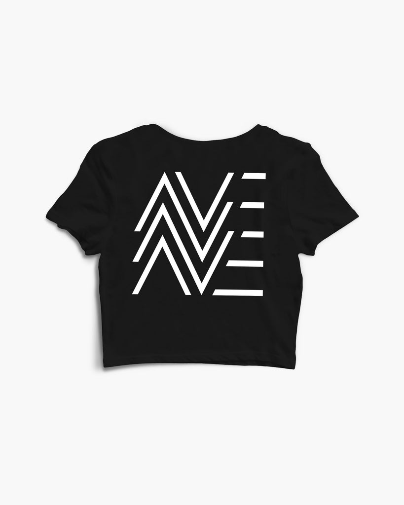 DJane AVE Crew Crop Top in schwarz von RAVE Clothing
