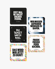 Festival sticker set by RAVE Clothing with different techno and rave stickers.