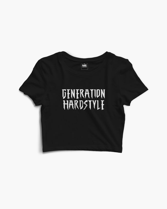 Generation hardstyle crop top in black for women by RAVE Clothing