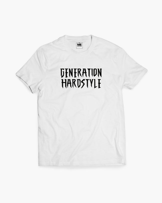 Generation hardstyle t-shirt in white for men by RAVE Clothing