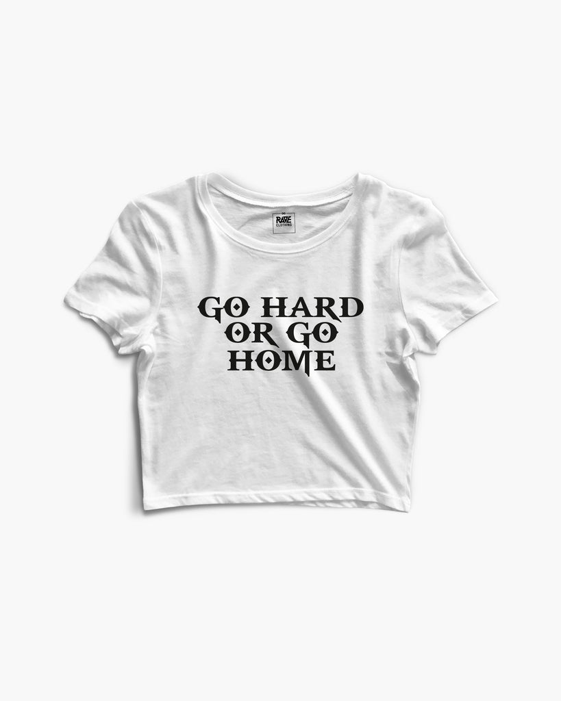 Go Hard Or Go Home Crop Top in weiß für Frauen von RAVE Clothing