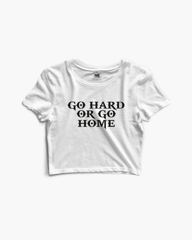 Go Hard Or Go Home Crop Top in white for women by RAVE Clothing