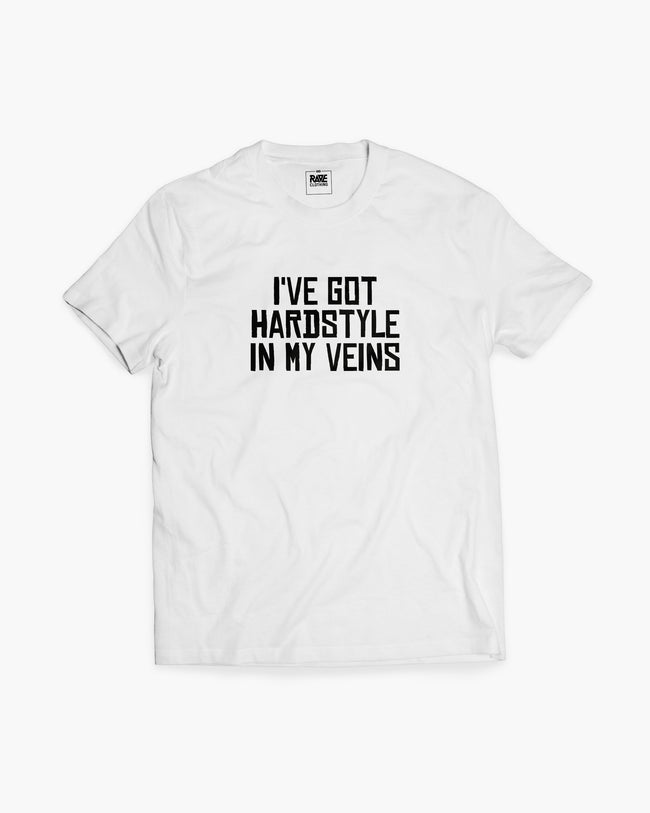 Hardstyle In My Veins T-shirt in white for men by RAVE Clothing