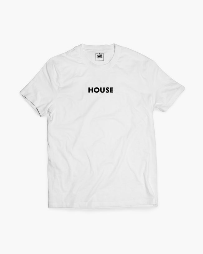 House T-shirt in white for men by RAVE Clothing