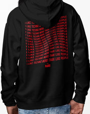 I Like Techno More Than I Like People hoodie in black for men