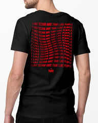 I Like Techno More Than I Like People T-Shirt in schwarz für Männer von RAVE Clothing