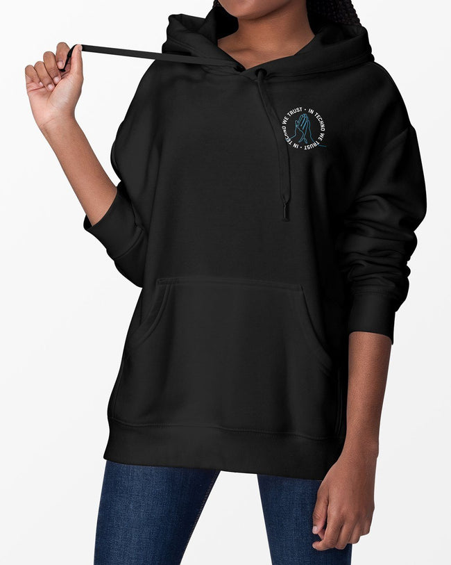 In Techno We Trust hoodie in black for women by RAVE Clothing