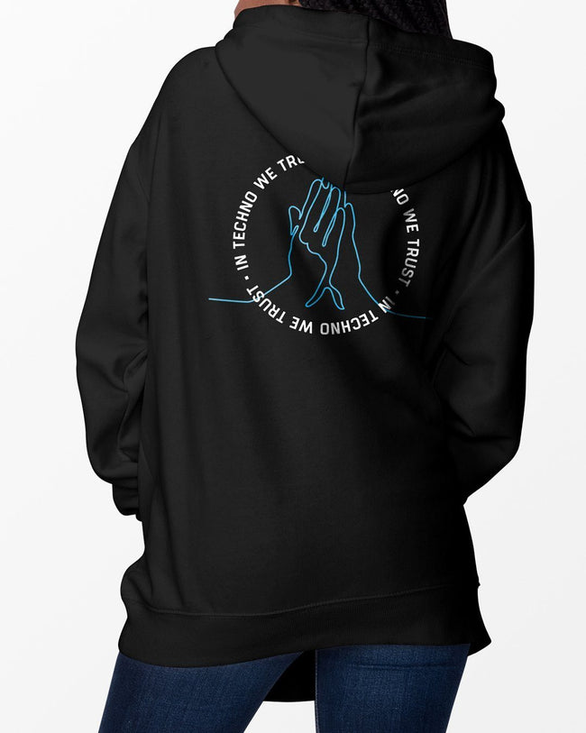Black In Techno We Trust hoodie for women