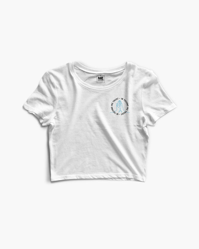 White In Techno We Trust Crop Top for women