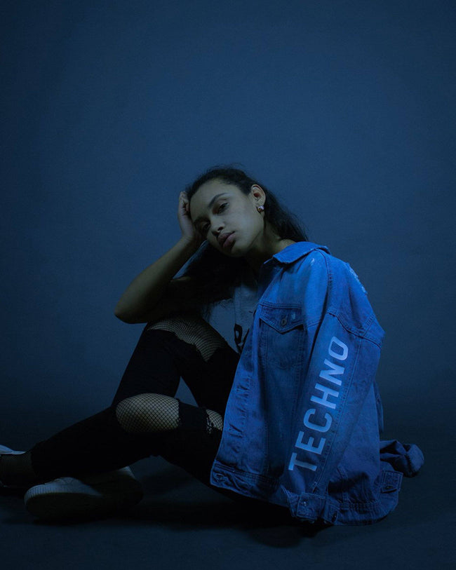 Techno denim jacket for women by RAVE Clothing