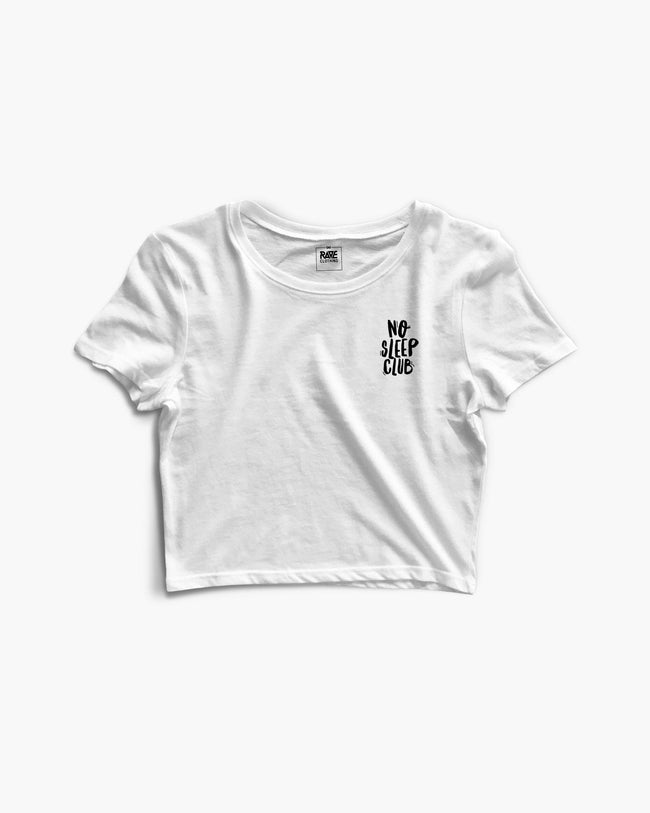 No Sleep Club Crop Top in white for women by RAVE Clothing