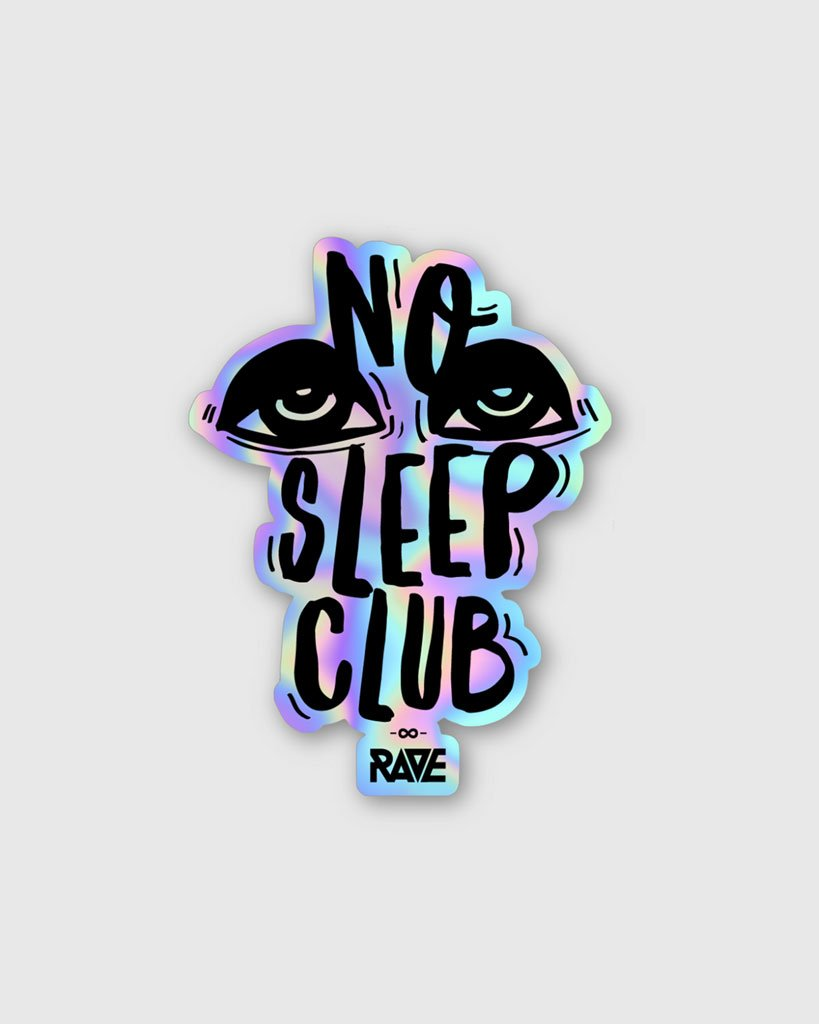 No Sleep Club Holographic Sticker by RAVE Clothing