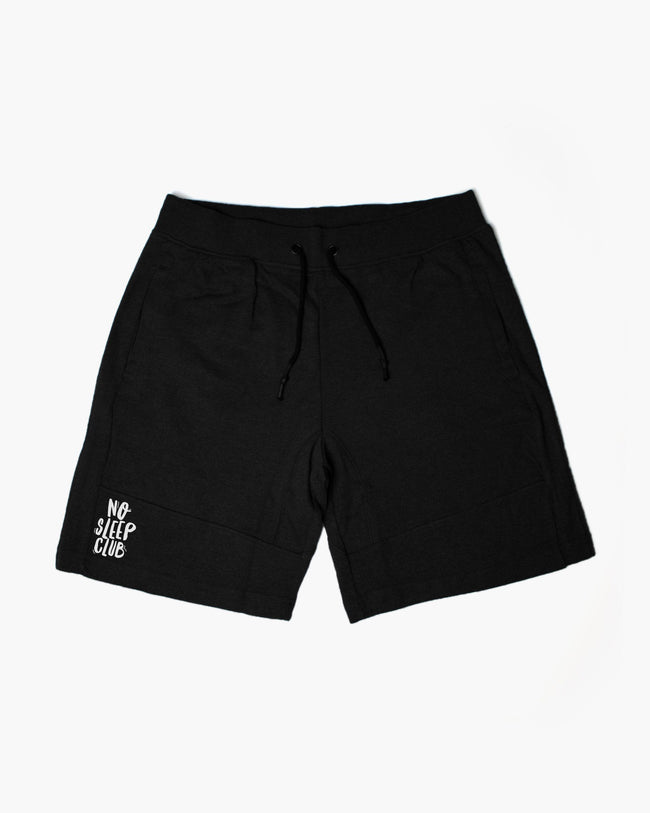 No Sleep Club shorts in black by RAVE Clothing