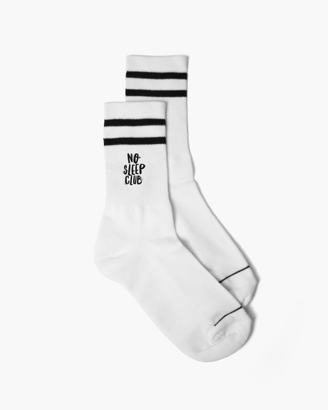 No Sleep Club socks in white by RAVE Clothing