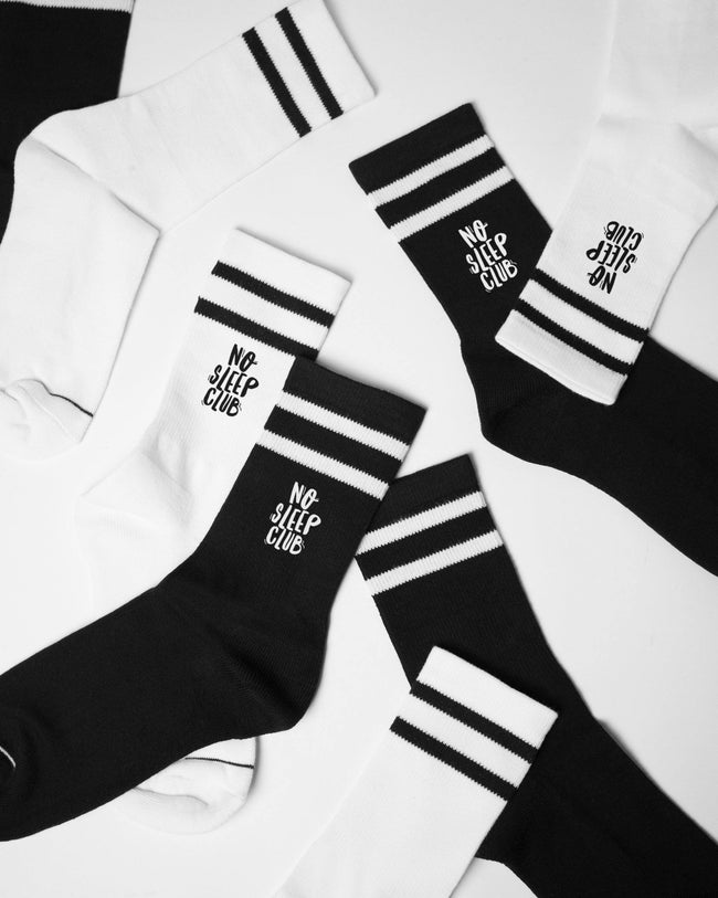 No Sleep Club socks in black by RAVE Clothing