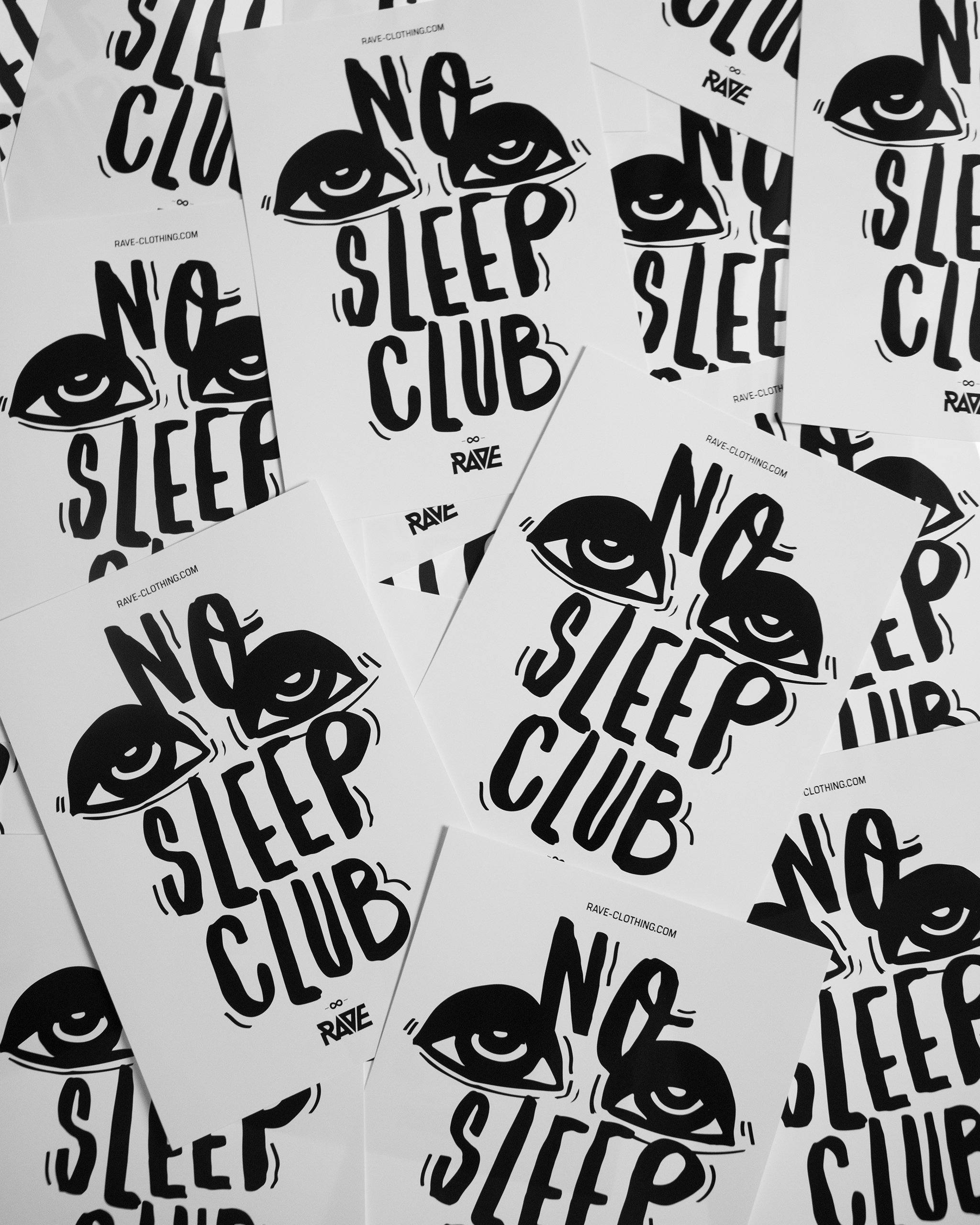 No Sleep Club Sticker von RAVE Clothing