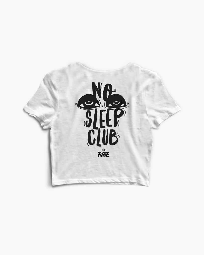 Weißes No Sleep Club Crop Top für Frauen