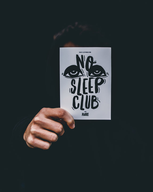 Sticker with No Sleep Club motif
