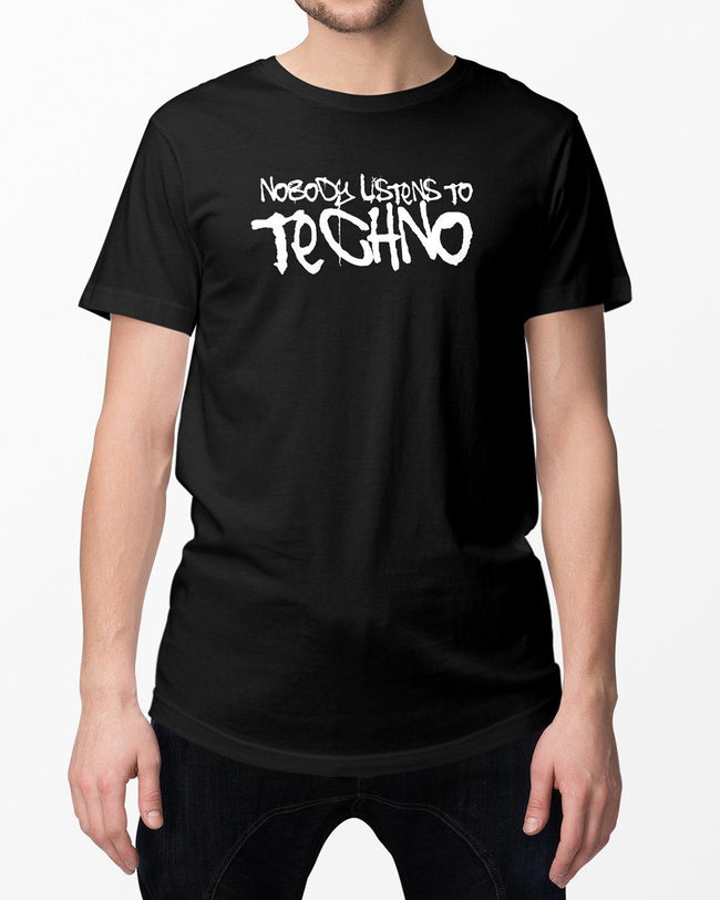 Nobody lists to techno T-shirt in black for men