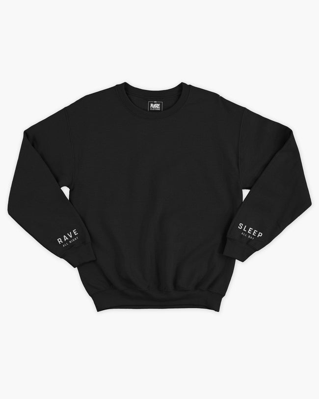 Rave All Night Crewneck in black for women by RAVE Clothing