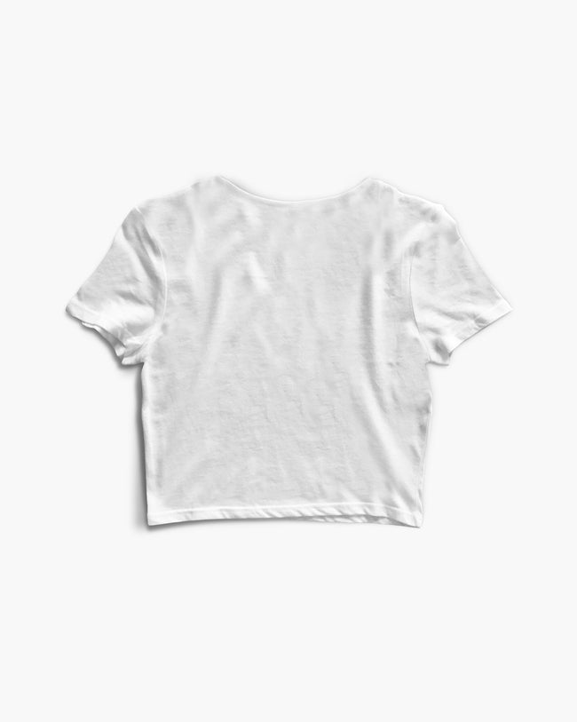 White RAVE basic crop top for women
