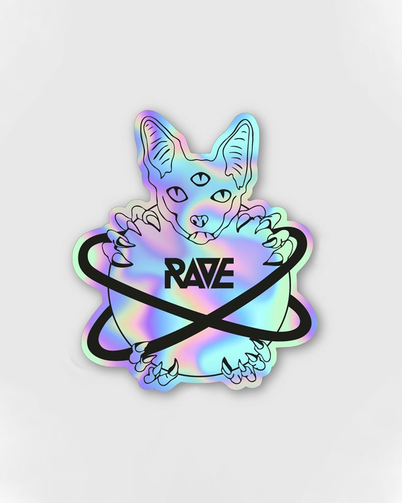 RAVE Cat Holographic Sticker by RAVE Clothing