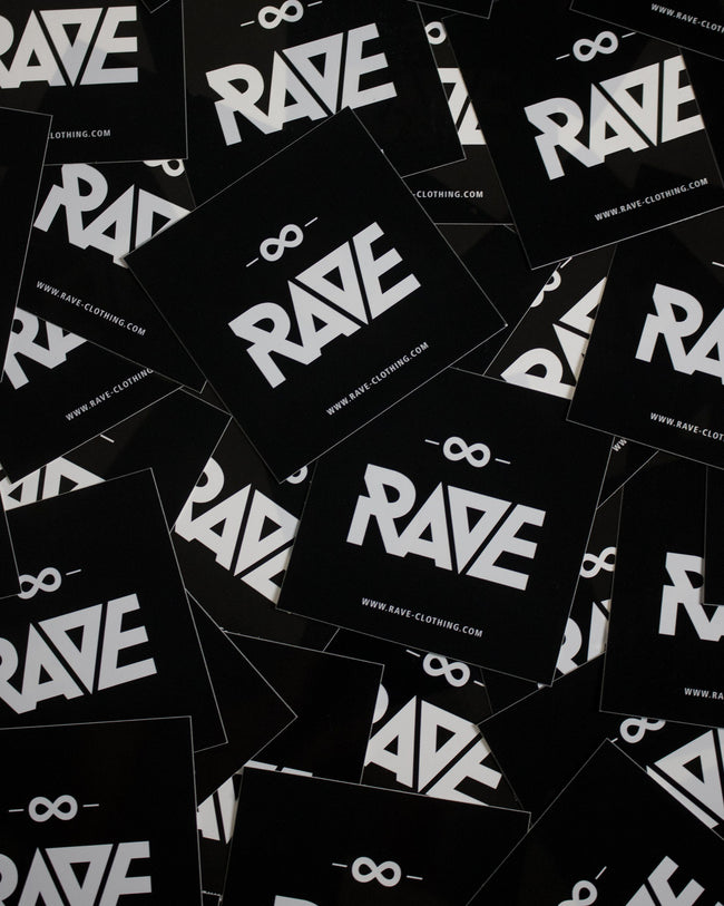 RAVE Clothing Sticker. Black and white rave sticker for clubs, festivals or techno parties.