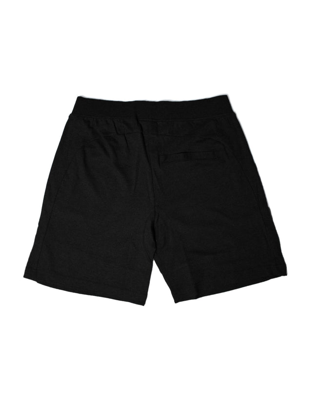 Black techno crew shorts by RAVE Clothing