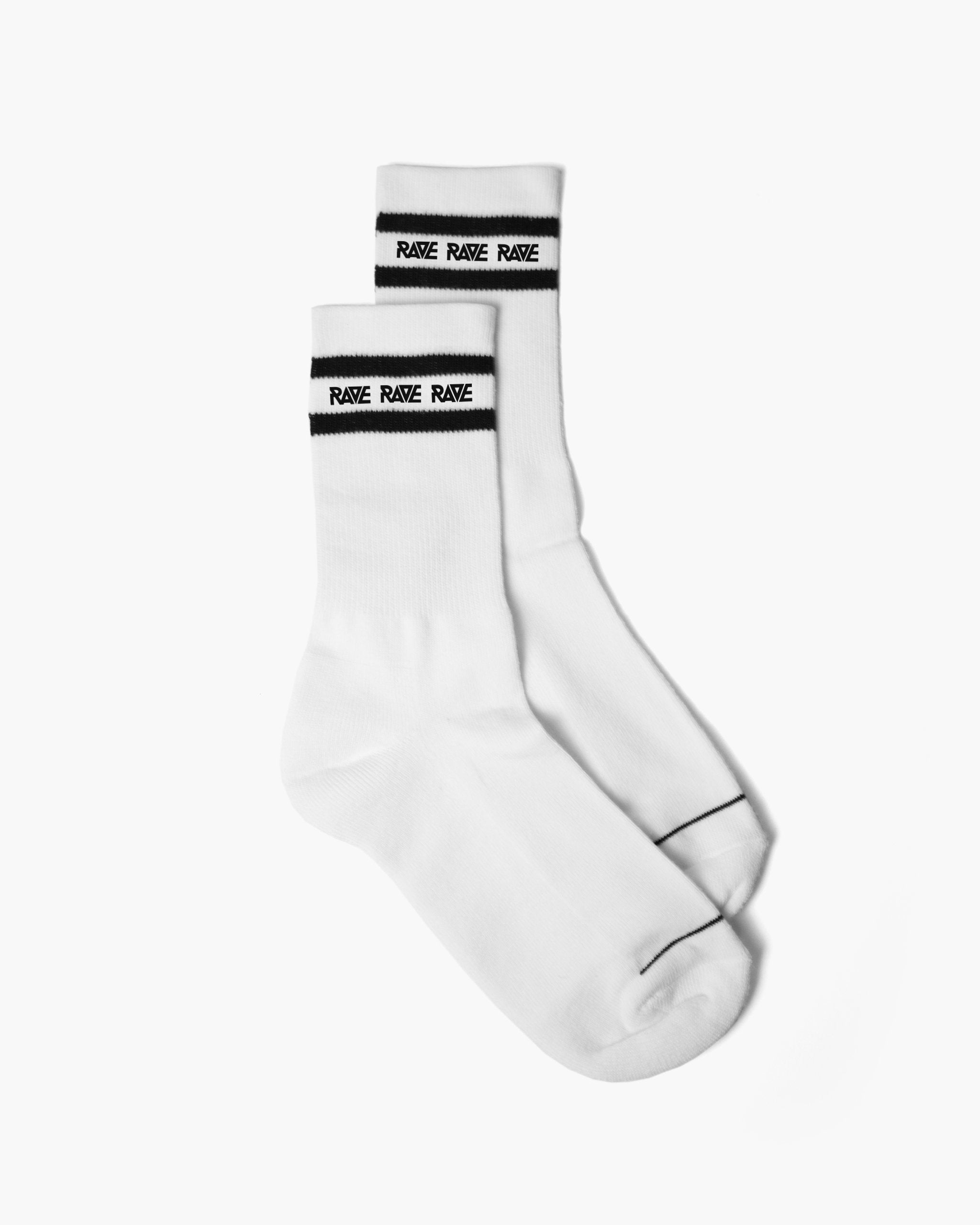 RAVE crew socks in white by RAVE Clothing