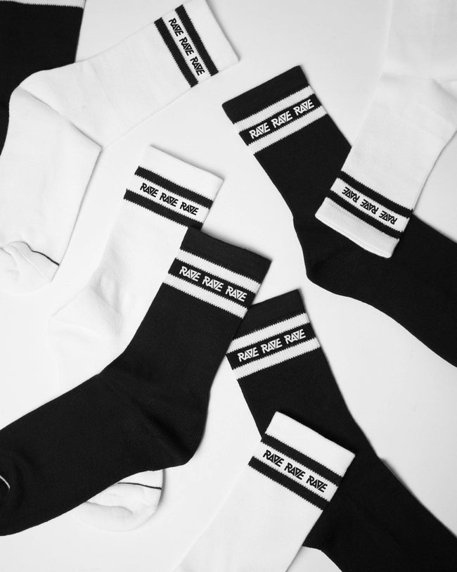 Black RAVE crew socks for men by RAVE Clothing