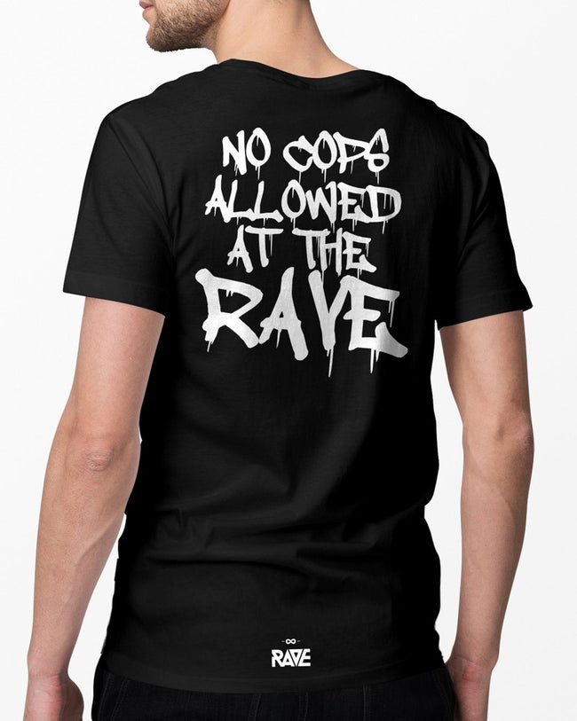 No Cops allowed at the rave T-Shirt in black for men