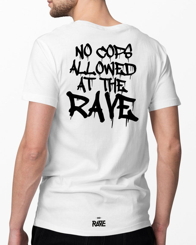 No Cops allowed at the rave T-Shirt in white for men