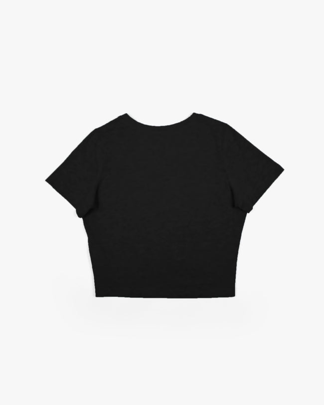 Black RAVE crop top for women