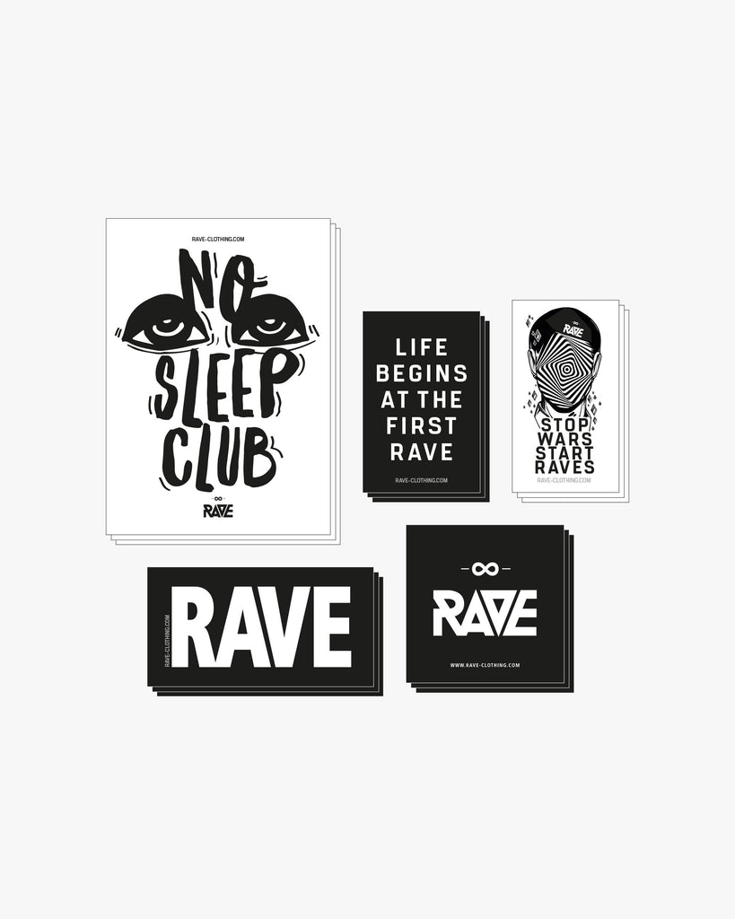 Rave Sticker Set von RAVE Clothing mit unterschiedlichen Techno Stickern. U.a. mit Life begins at the first Rave, No Sleep Club, Rave, Stop Wars Start Raves.