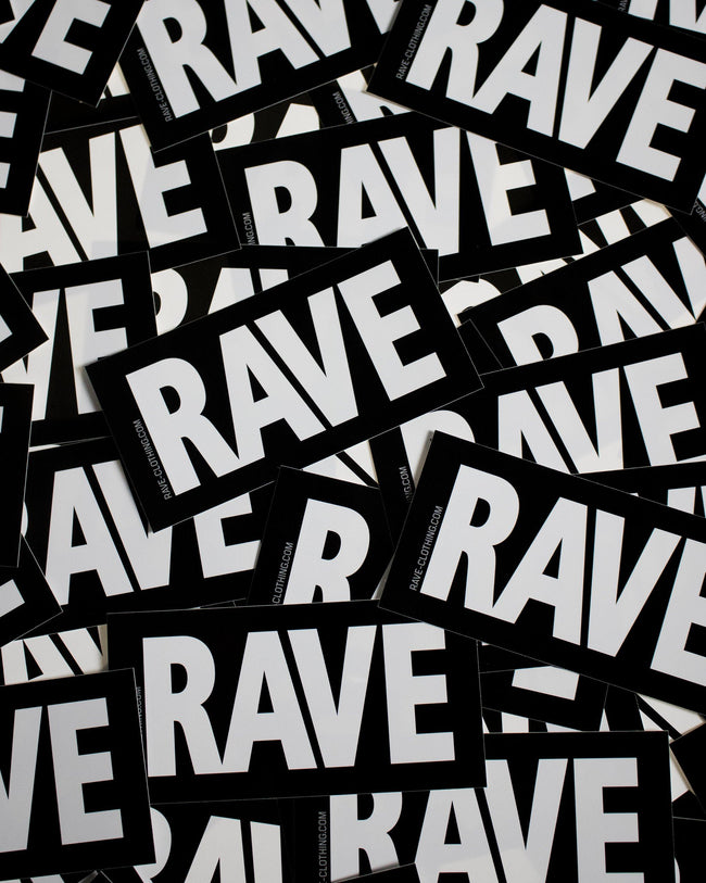 Rave Stickers from RAVE Clothing. Black and white techno sticker with RAVE lettering