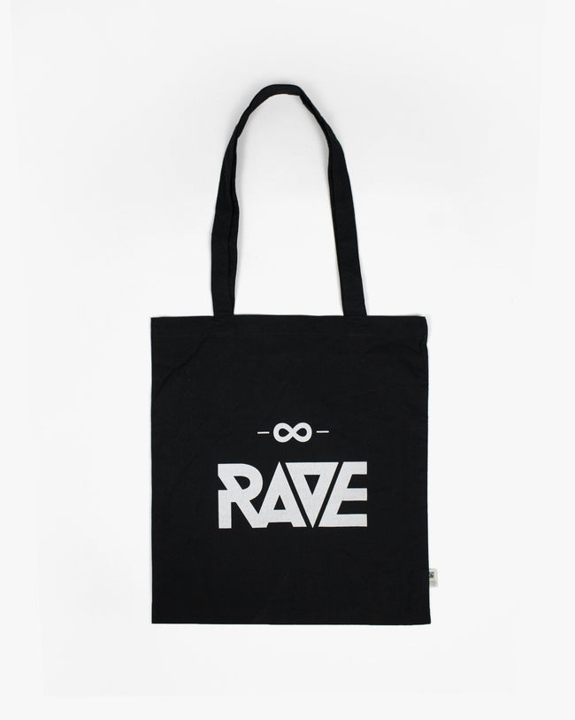 Black RAVE jute bag with white RAVE logo print. Ideal for festival, techno parties or raves