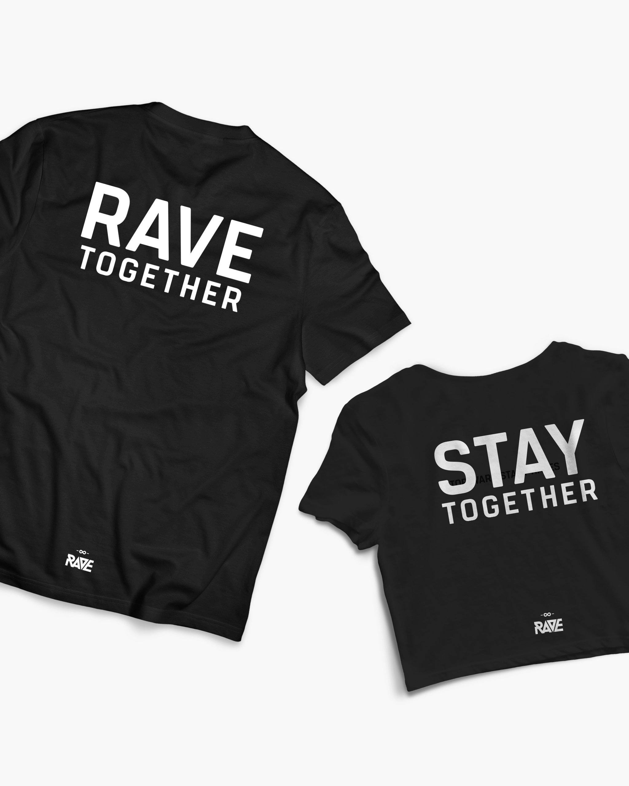 Rave Together Stay Together Couple T-Shirt & Crop Top in schwarz von RAVE Clothing