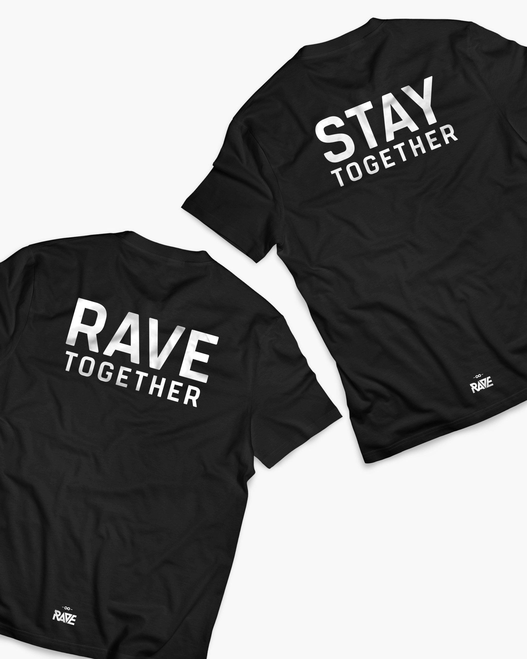 Rave Together Stay Together Couple T-Shirts in schwarz von RAVE Clothing