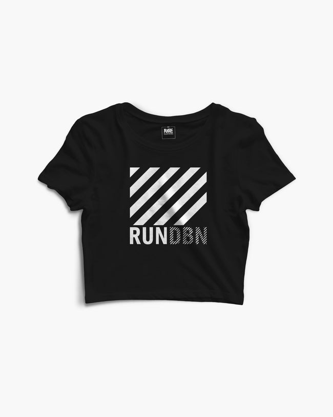RUN DBN Crop Top in black by RAVE Clothing
