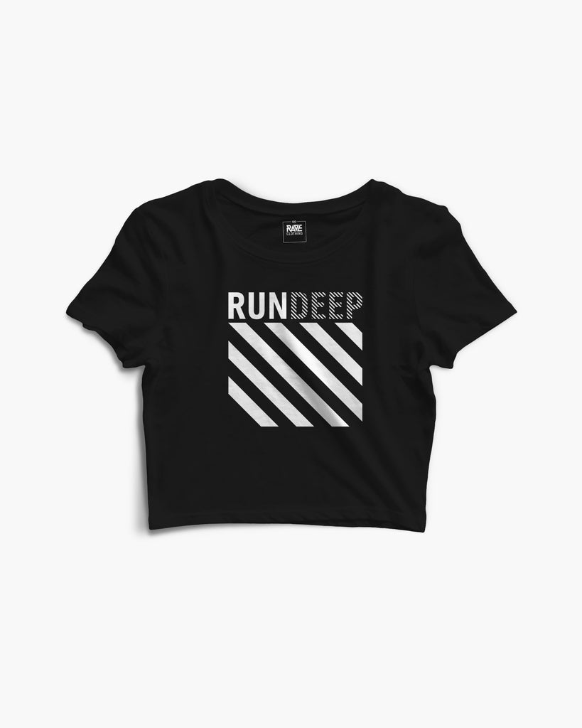 RUN DEEP Crop Top in schwarz von RAVE Clothing