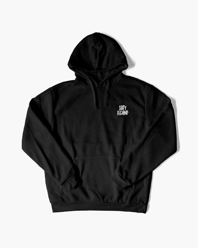 Stay Techno Hoodie in black for men by RAVE Clothing