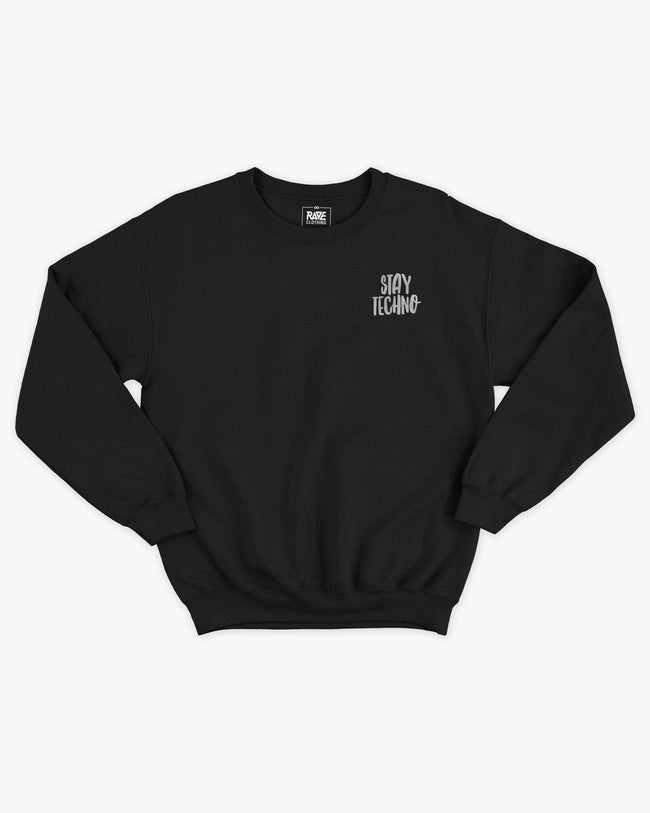Stay Techno Crewneck in black for men by RAVE Clothing