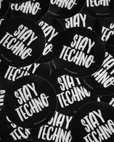 Stay Techno sticker in black by RAVE Clothing